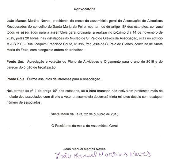 convicatoria assembleia 14 Novembro